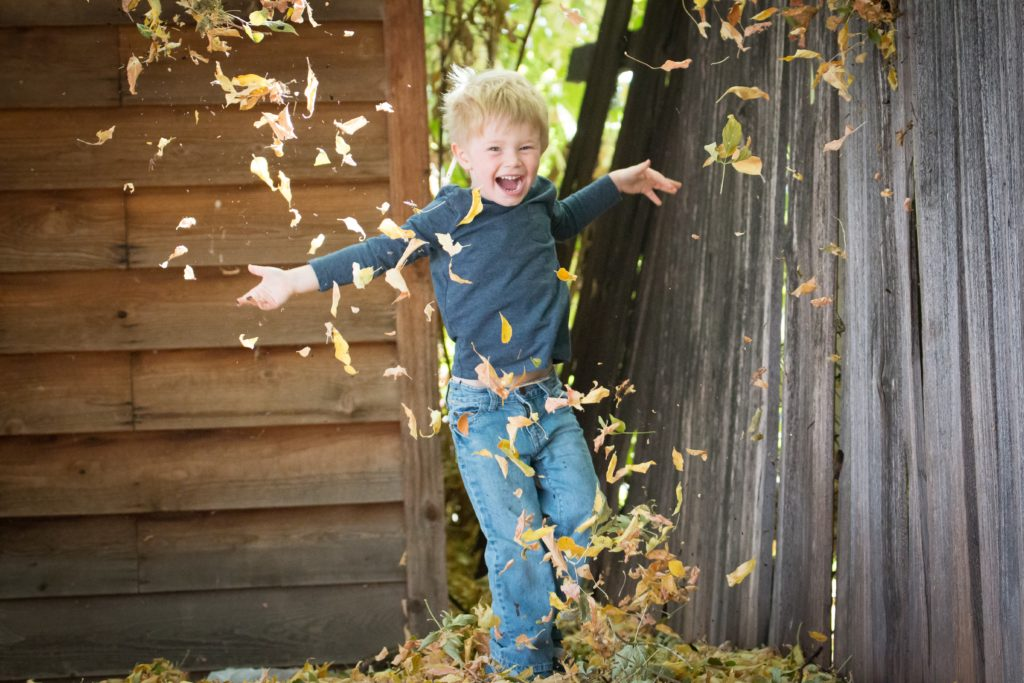Happy Boy Playing in Leaves from Alison Escalante MD