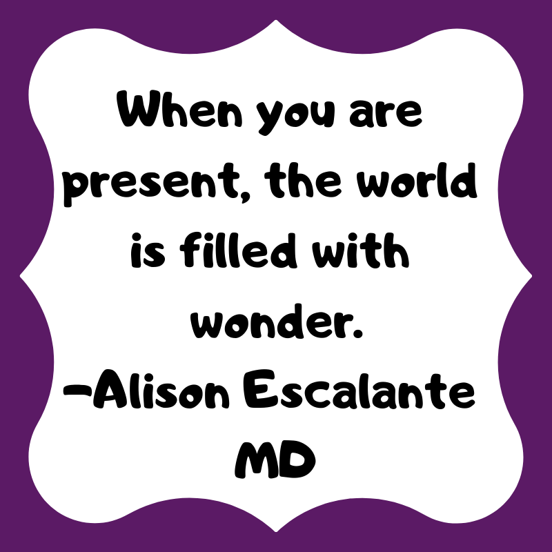 When you are present, the world is full of wonder. Alison Escalante MD