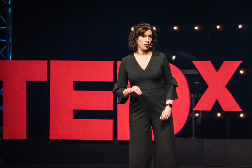 "Dr. Alison Escalante speaking at TEDx Naperville on The Parenting ""ShouldStorm"""