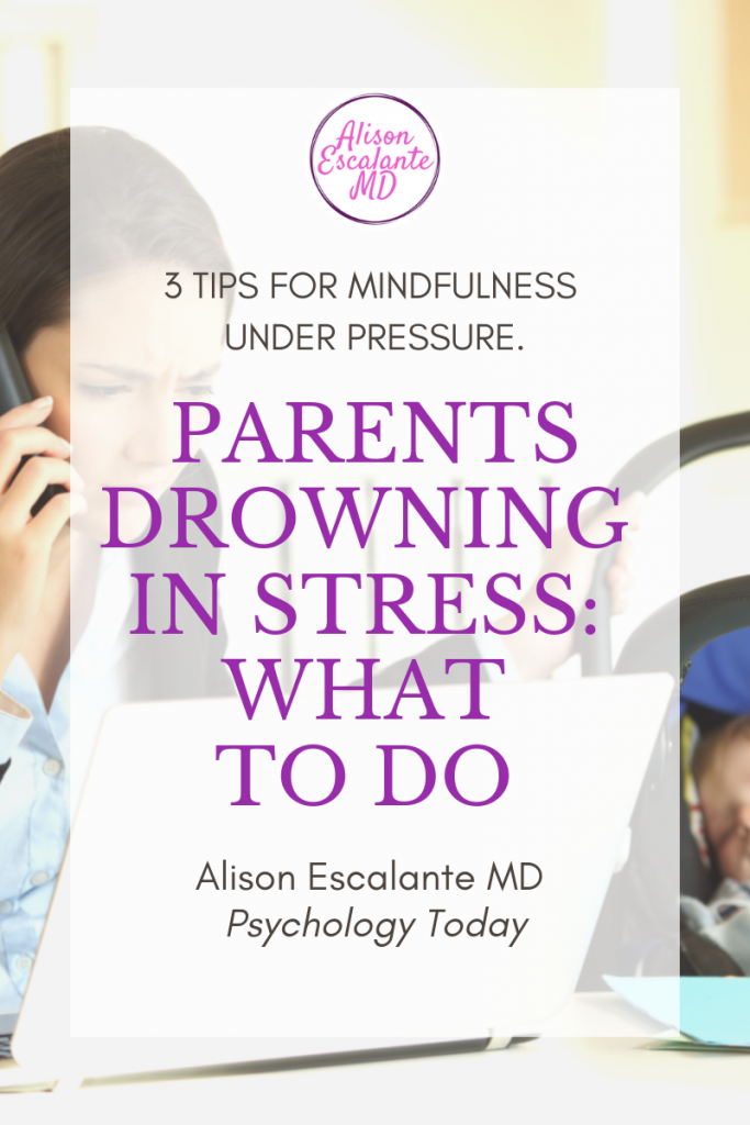 Drowning in Parenting Stress? Here's What to Do About It. Parents have always been stressed, but now we are drowning in it. A simple method can help us find a little peace and connect with our kids. Alison Escalante MD #stress #parenting #parentingtips #motherhood