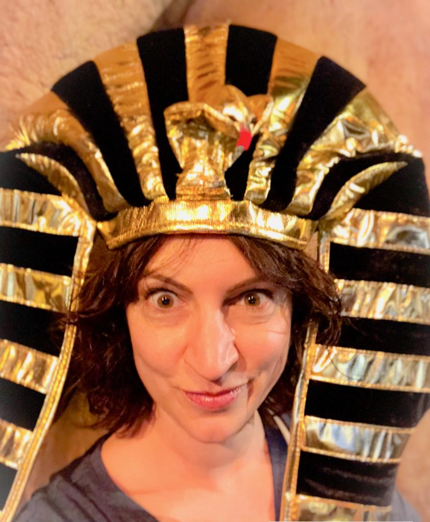 A very silly pediatrician in her son's new pharoah hat! We went to a museum and saw mummies. Even at the museum, we had a family vacation meltdown. #meltdowns #familyvacation