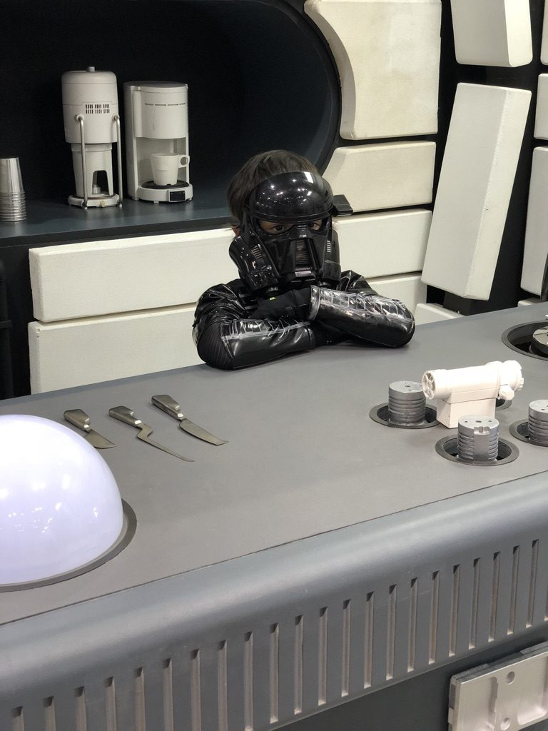 Death Trooper in the Millenium Falcon Kitchen. I had a Mom Meltdown at the Star Wars Celebration: here's what I learned. #mommeltdown #mommeltdownfunny #mommeltdownmothers #parentingtips #effectiveparenting