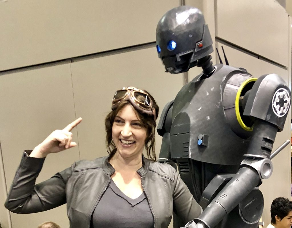 I get silly with a droid. I had a Mom Meltdown at the Star Wars Celebration: here's what I learned. #mommeltdown #mommeltdownfunny #mommeltdownmothers #parentingtips #effectiveparenting