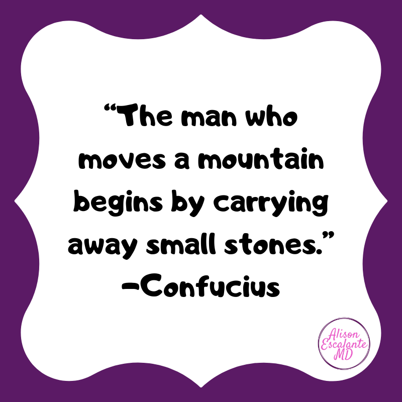 The man who moves a mountin begins by carrying small stones. Confuscius from Alison Escalante MD