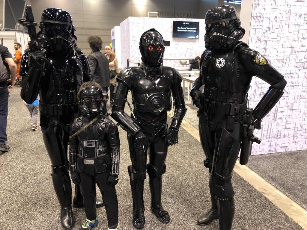 My son the Deathtrooper meets his colleagues. I had a Mom Meltdown at the Star Wars Celebration: here's what I learned. #mommeltdown #mommeltdownfunny #mommeltdownmothers #parentingtips #effectiveparenting