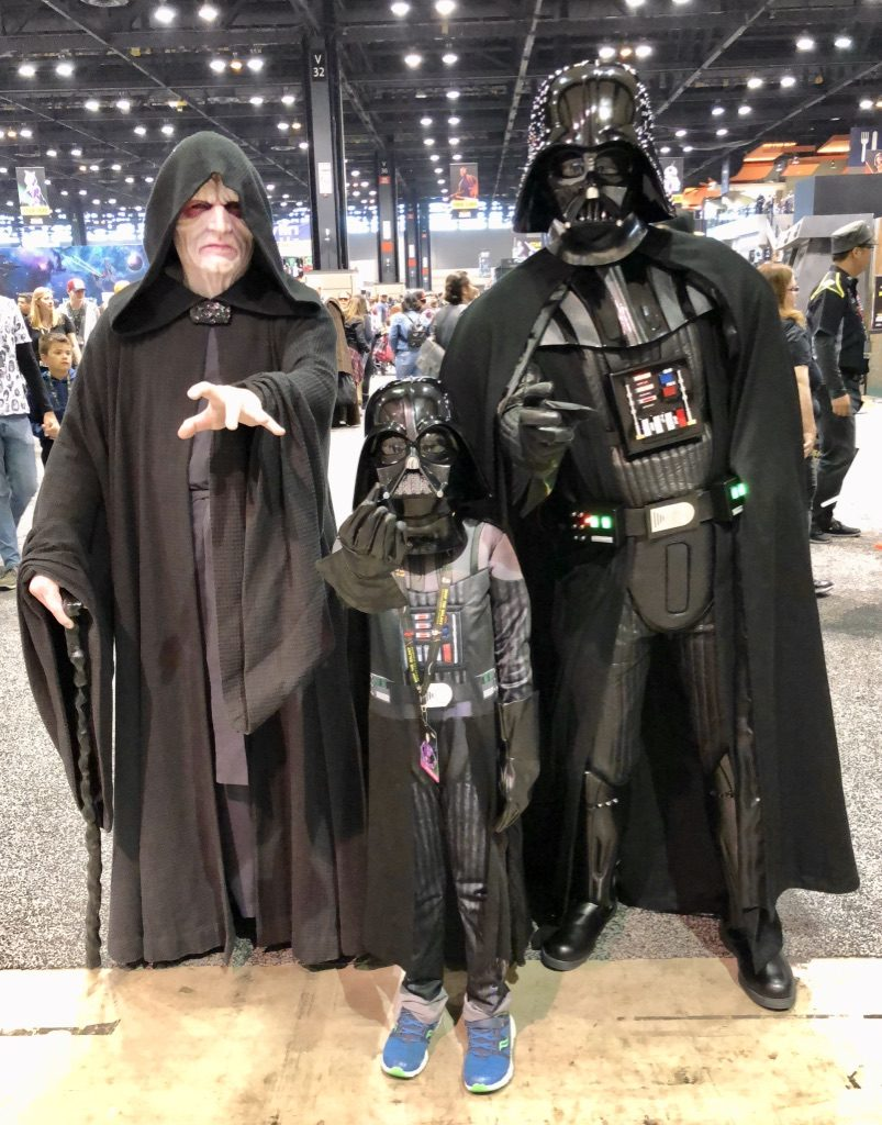 My son with Darth Vader and Emperor Palpatine. I had a Mom Meltdown at the Star Wars Celebration: here's what I learned. #mommeltdown #mommeltdownfunny #mommeltdownmothers #parentingtips #effectiveparenting