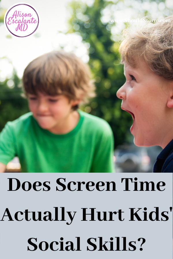 Screen Time Does Not Hurt Kids' Social Skills. According to new research, social skills may be the one area parents don't need to worry about when it comes to their kids' screen time. At least in elementary school age kids, it did not make a difference. #parenting #parentingtips #screentime #socialskills