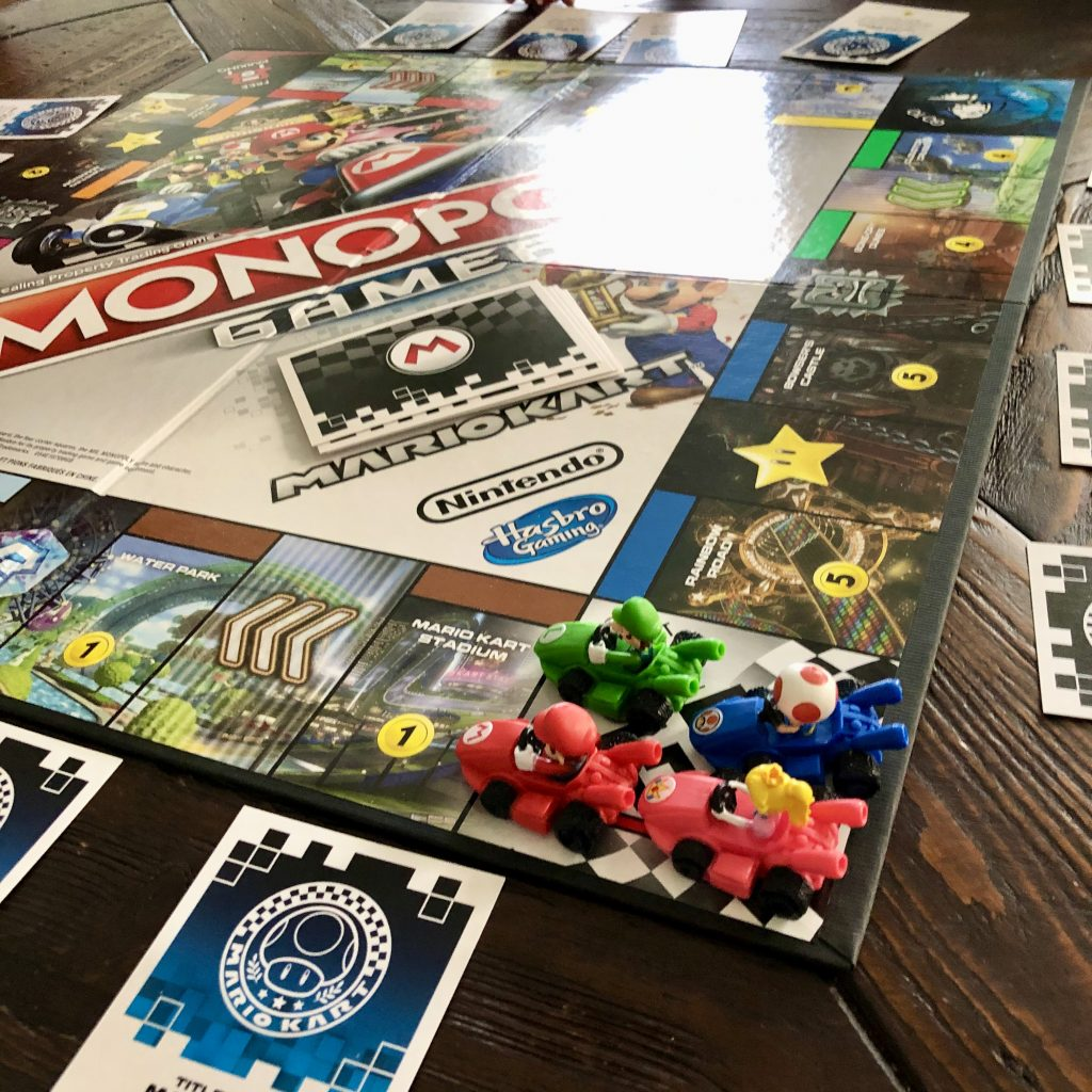 Mario Kart Monopoly gameboard.